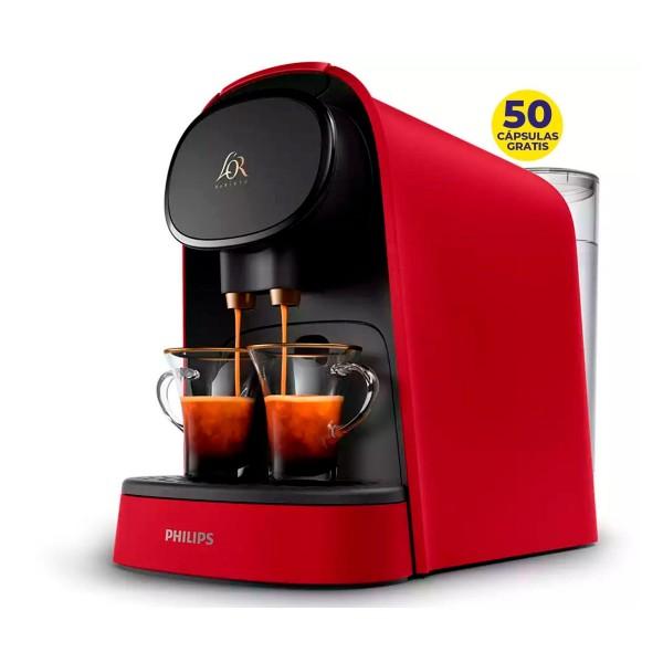 Philips l'or barista roja cafetera de cápsulas l'or doble carga automática + 50 cápsulas