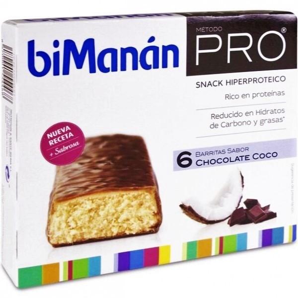 BIMANAN PRO BARRITAS DE CHOCOLATE COCO 6 UDS